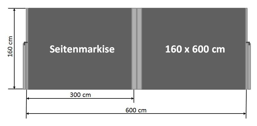 Seitenmarkise 160 x 600 cm