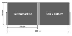 Seitenmarkise 180 x 600 cm
