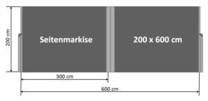 Seitenmarkise 200 x 600 cm
